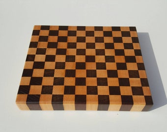 Mother's Day Gift. Maple and Brazilian walnut end-grain cutting board