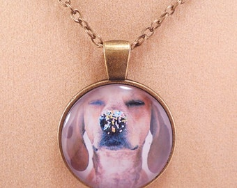 Free Shipping-Adorable Dog with Sprinkles Pendant Necklace, Glass Cabochon, Bronze Necklace