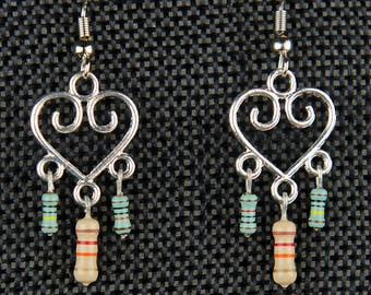 Heart Dangle Earrings with Tan and Green Resistors