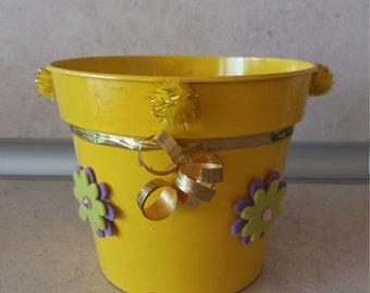 Yellow pot with flowers and ribbon-handmade