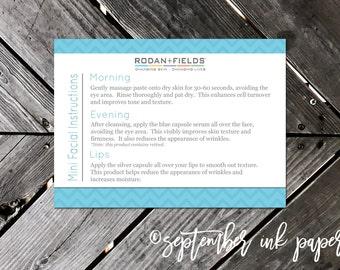 Rodan + Fields Mini Facial Instruction Card