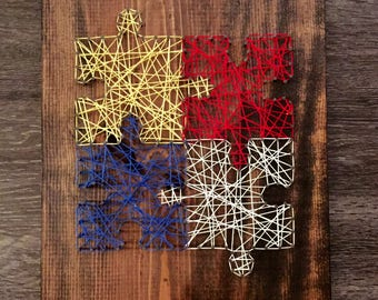 Puzzle piece string art