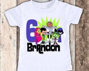 Teen Titans Inspired custom designed birthday t shirt tshirt personalized