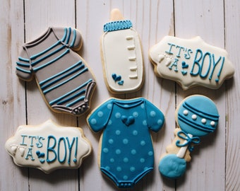 Boy Baby Shower Cookies - 1 Dozen