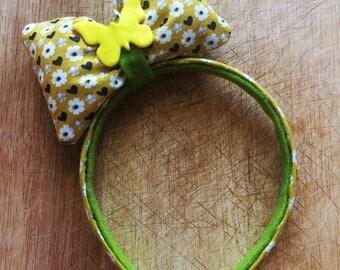 Headband with puffy hair bow - Flower theme