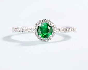Emerald Engagement ring Vintage Halo set Diamond wedding white gold antique Half eternity Dainty Promise Delicate Anniversary Gift for women