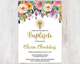 Flower Baptism Invitation, Floral Baptism Invitation, Great for any Baptism, Christening, Dedication ,First Communion, Girl Baptism