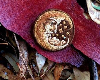 "Hand Embroidery pin ""Moonface"" handmade brooch"
