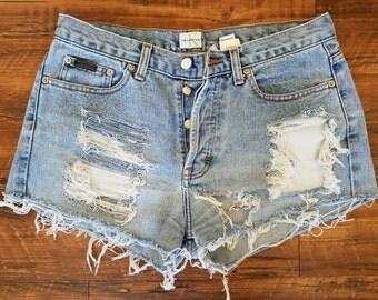 Vintage 90s CK Cutoff / Destroyed Booty Shorts