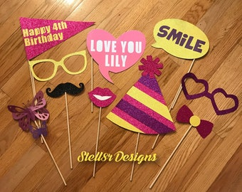 Custom PHOTO BOOTH PROPS / Photo Props for Birthday