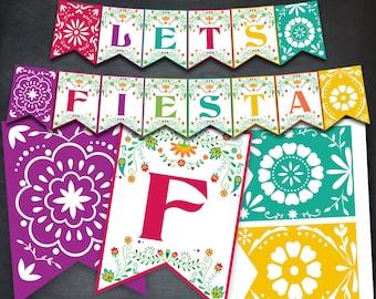 Fiesta Banner, Fiesta Party Banner, Fiesta Printables, Fiesta Party, Fiesta Favors, Papel Picado Banner, Banner Flags, Digital, Mexican, DIY