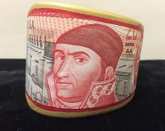 Handmade wood cuff with foreign currency