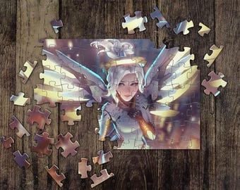 Personalized Mercy Overwatch Jigsaw Puzzles, Custom Name Photo Puzzle, Great Gift for a Gamer! Overwatch Game Puzzles