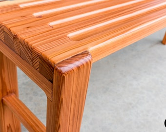 Hand crafted solid Redwood indoor or outdoor bench