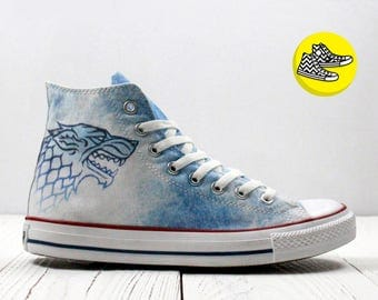 Game of Thrones House Stark Direwolf custom design converse sneakers denim