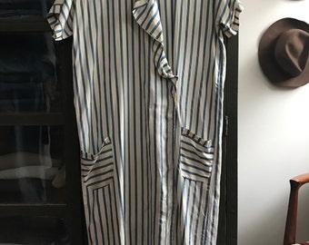 Vintage antique 1920s art deco blue and white striped silk dress
