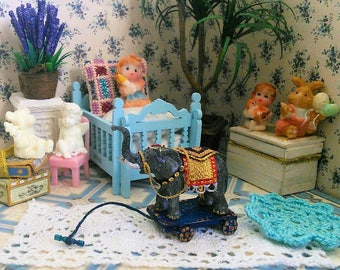 Elephant on wheels. Сircus. A doll for a doll. Toys for the dollhouse  Scale 1:12