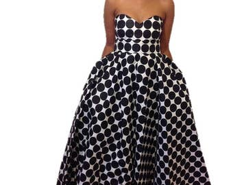 Polka Dot Dress with Sweetheart Neckline
