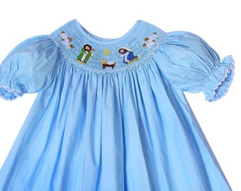 Girls smocked nativity bishop dress