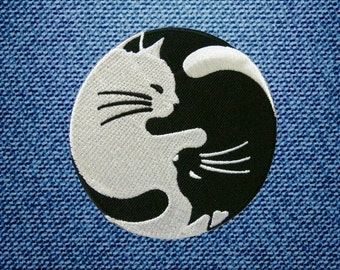 White And Black Cat Yin Yang Yinyang Patch Embroidered Iron On Patches DIY By IronOnDIY
