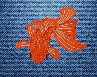 Orange Koi Goldfish Fish Patch Embroidered Iron On Patches DIY By IronOnDIY