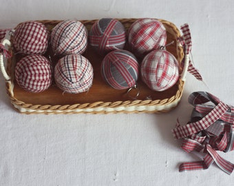 Set of 8 Rag Ball - Handmade Christmas Ornaments in Red - Rustic Decor - Country Style Decor - Primitive Rag Balls  - Farmhouse Christmas