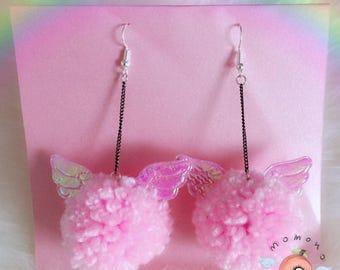Cute angel pompom earrings fairykei pastel earrings