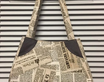 "Newspaper Print ""Ethel"" design Bag"