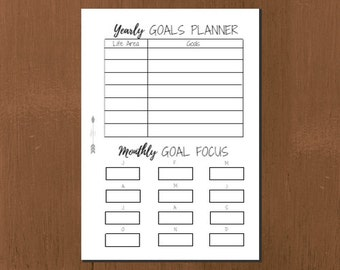 Yearly Goals Planner Simplicity Design