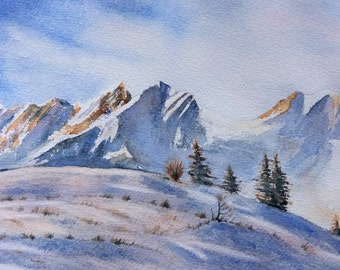 Original watercolor winter painting of mountain french alps