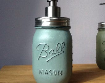 Ball Mason Jar Hand Painted Soap / Lotion Dispenser - Duck Egg Blue