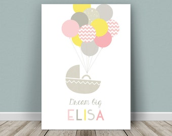 Personalised baby print balloons for a girl