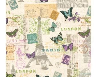 Cotton Fabric Quilting Travel London Paris Roma