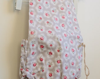 Dungaree romper in pink flowers - 6-9 months