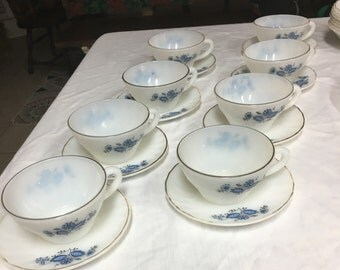 Vintage Milk Glass blue flower China set