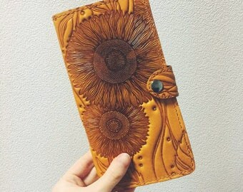 Leather Wallet for Women Sunflowers Woman Leather Wallet Handmade Wallet Large Wallet Cow Leather Travel Case Check Book Cover Gift For Her