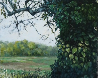 Original painting of a Swallow in an ivy-covered tree overlooking a Devon salt marsh; woodland picture; birds; amimals