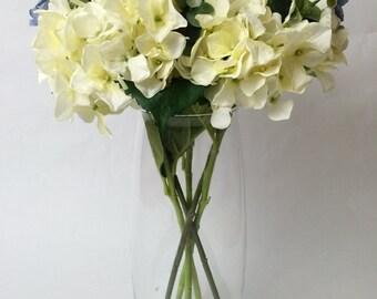 Cream and Blue Hydrangea Faux Flower Centrepiece