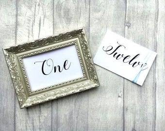 Wedding Table Numbers 1-12