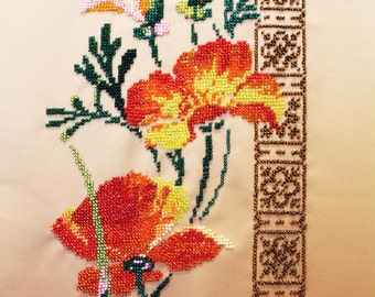 Poppies/ Embroidery picture/ Beadwork/ Handmade Beaded Picture