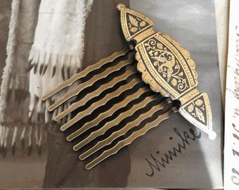 Comb 1900 hair ornament in gold of Toledo with bird and floral patterns