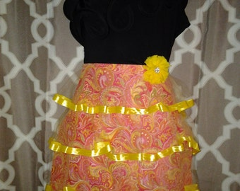 Couture Coral and Yellow Paisley Waistline Apron