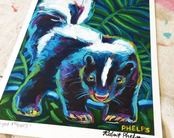 Hand-signed Colorful Skunk Art Print by Artist Robert Phelps