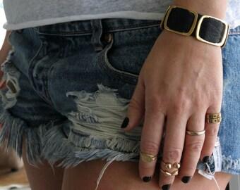 Women Leather Cuff Bracelet, Black and Gold Bracelet, Gold and Leather, Black and gold Leather jewelry, Black Cuff Bracelet