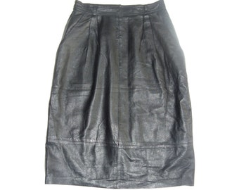 Vintage women skirt genuine leather black