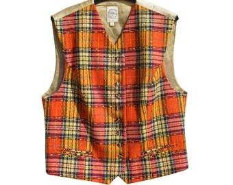 Vintage PAUW wool multicolor checked vest women