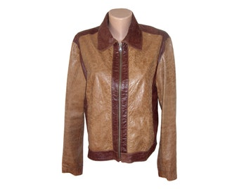 Vintage Margi Pel women leather jacket brown Made in Italy size 48