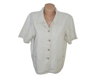 Vintage Alex 52% linen 48 cotton women beige blazer Made in Italy size M