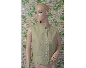 Vintage Mark women vest beige linen