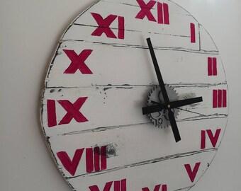 Rustic Wood Wall Clock Medium  56 cm / 22.1 inch Diameter White with Hot Pink Roman Numerals